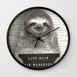 Sloth in a Mugshot Wall Clock