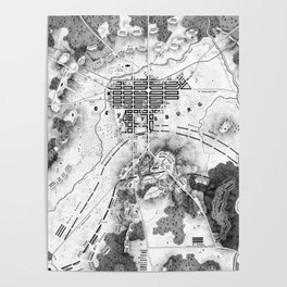 Vintage Map of The Gettysburg Battlefield (1863)BW Poster