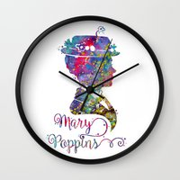 mary poppins Wall Clocks featuring Mary Poppins Portrait Silhouette by Bitter Moon