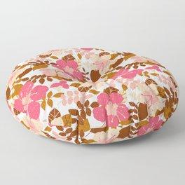 Autumn Hibiscus--White Floor Pillow