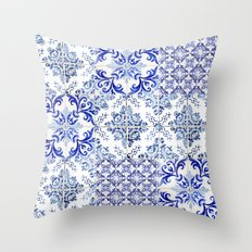 azulejos - Portuguese painted tiles Throw Pillow