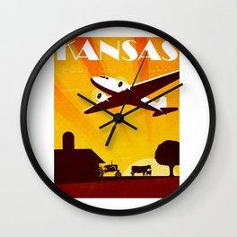 Art Deco Travel Poster - Kansas Wall Clock