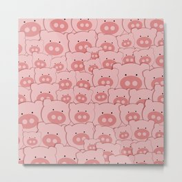 Pink Piggy Pigs Metal Print