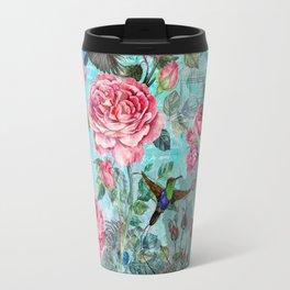 Vintage Watercolor hummingbird and English Roses on aqua Background Travel Mug