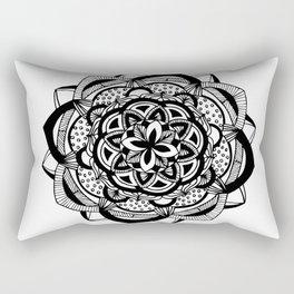 Blossoming black mandala on white (1) Rectangular Pillow