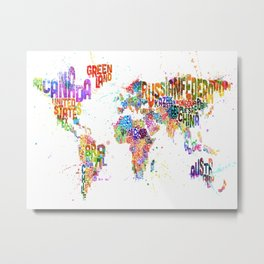 Paint Splashes Typography Text World Map Metal Print