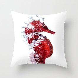 RED SEAHORSE Throw Pillow