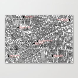 Jack the Ripper Map of Victorian Whitechapel Canvas Print