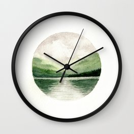 Foggy Mountain Lake Watercolor Landscape | Minimalism Painting | Round Painting Wall Clock