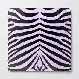 Pale Lilac and Black Zebra Animal Safari Stripes Metal Print