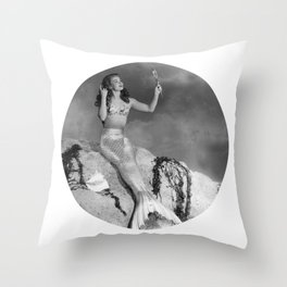 Mermaid With Mirror Throw Pillow
