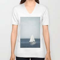 sail V-neck T-shirts featuring Set Sail by Pure Nature Photos