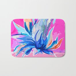 Agave From Toledo, Spain Abstract, Blue and Hot Pink Bright Bath Mat