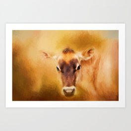 Jersey Cow Farm Art Art Print