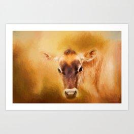 Jersey Cow Farm Art Art Print
