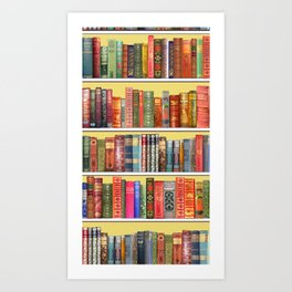 Christmas books antique vintage library Art Print