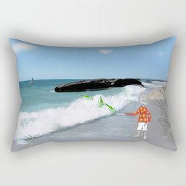Corky's throwing a bottle to the sea Rectangular Pillow
