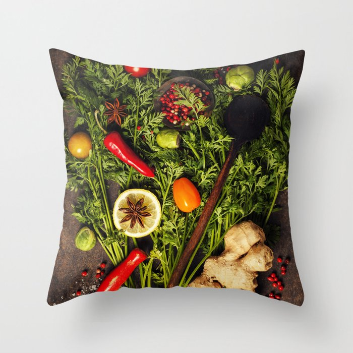 fresh carrots bunch, herbs and spices on dark rustic background Throw Pillow