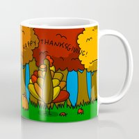 thanksgiving Mugs featuring Happy Thanksgiving! by Veronica Nagorny