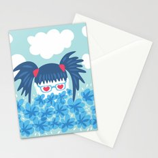 Geek Girl With Heart Shaped Eyes And Blue Flowers Stationery Cards