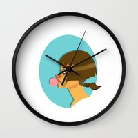 bubblegum Wall Clocks featuring Bubblegum  by Wvaja