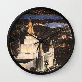 Oakland California LDS Temple Sunset Wall Clock