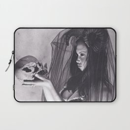 Realism Charcoal Drawing of Sexy Dark Queen in Veil with Skull Laptop Sleeve