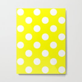 Large Polka Dots - White on Yellow Metal Print