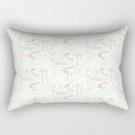 Christmas Doodles (Red, Green and Gold) Rectangular Pillow