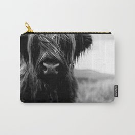 Scottish Highland Cattle Baby - Black and White Animal Photography Carry-All Pouch