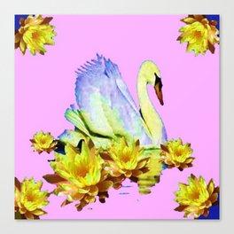 White Swan & Yellow Water Lilies Pink Art  Fantasy Canvas Print