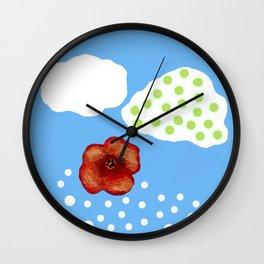 Coquelicot et deux nuages bis Wall Clock