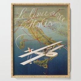 Vintage 1920s Island plane shuttle Italian travel Serving Tray