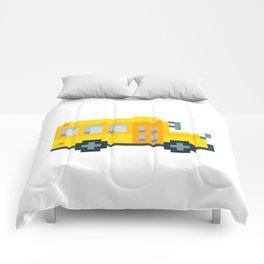 Pixel School Bus Comforters
