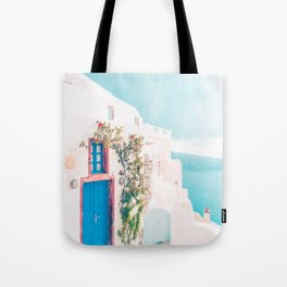 Santorini Greece Cozy blush travel photography in hd. Tote Bag