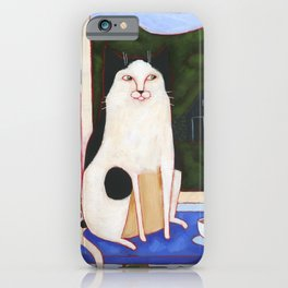 Window Cat and Turf House iPhone Case