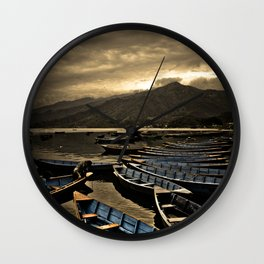 Boats on Phewa Lake, Pokhara, Nepal Wall Clock