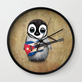 Baby Penguin Playing Cuban Flag Guitar Wall Clock