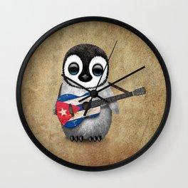Baby Penguin Playing Cuban Flag Guitar Wall Clock