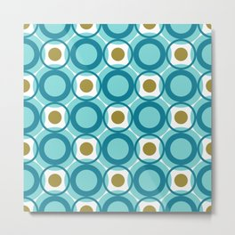 Mid Century Modern Retro Pattern of Geometric Shapes Teal Blue and Gold Circles Metal Print