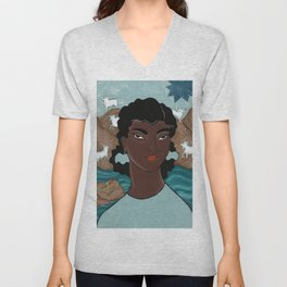 Capricorn by Amanda Laurel Atkins Unisex V-Neck
