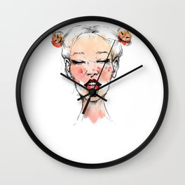 Happy Halloween Pumpkin Hair Buns Wall Clock