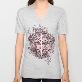 Butterflies and Tree of Life Unisex V-Neck