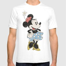 Minnie Mouse White Mens Fitted Tee SMALL