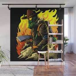 Firefighter Illustration | Fire Brigade Hero Flame Wall Mural