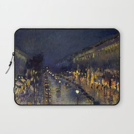 """Camille Pissarro """"The Boulevard Montmartre at Night""""(1897) Laptop Sleeve"""