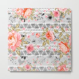 Pattern flowers with triangular shapes Metal Print