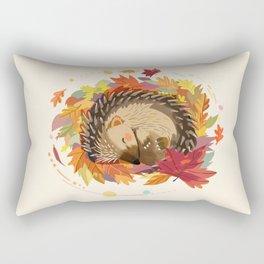 Hedgehog in Autumn Leaves Rectangular Pillow