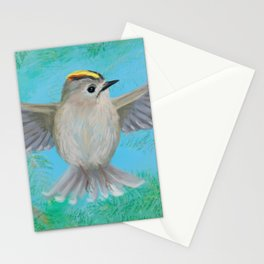 Goldcrest in top Stationery Cards