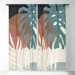 Abstract Art Tropical Leaves  Blackout Curtain